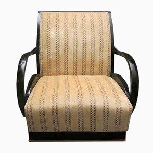 Art Deco Italian Walnut & Velvet Armchairs, 1940s, Set of 2