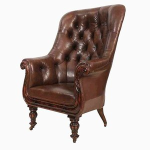 Late Regency Brown Leather Chesterfield Style Library Chair