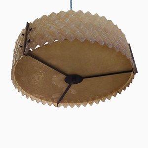 Runde italienische Deckenlampe aus Muranoglas in Lachsrosa, 1960er