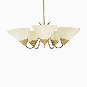 Lámpara de techo Mid-Century de latón con cinco puntos de luz, años 50