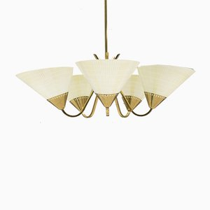 Mid-Century Five-Light Brass Ceiling Lamp, 1950s