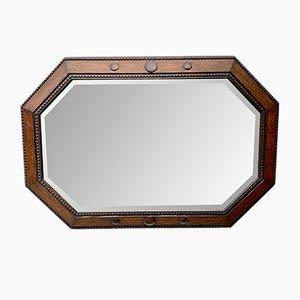 Specchio a muro vintage ottagonale con cornice in legno