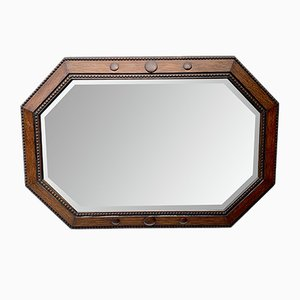 Vintage Octagonal Wall Mirror with Wooden Frame