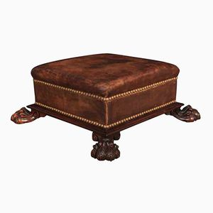 William IV Rosewood & Leather Foot Stool, 1820s