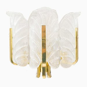 Glass Leaves & Brass Wall Lamp by Carl Fagerlund for Orrefors, 1960s