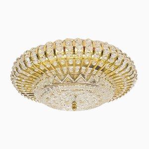 Moderne Mid-Century Deckenlampe aus Messing & Glassteinen