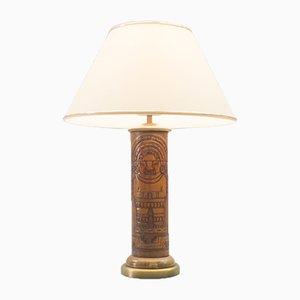 Tischlampe aus Leder mit Maja-Motiv von Kaiser Leuchten, 1960er
