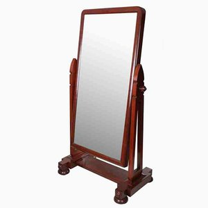 Antiker Cheval Spiegel mit Rahmen aus Mahagoni