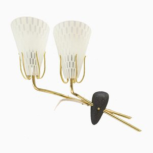 Mid-Century Brass and Glass Double Shade Wall Lamp, 1950s