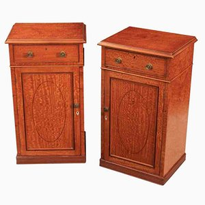 Antique Regency Satinwood Bedside Cabinets, Set of 2
