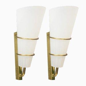 Lámparas de pared italianas Mid-Century tubulares de vidrio y latón, años 50. Juego de 2