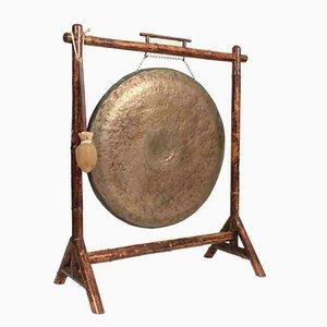 Gong victoriano grande de bambú y bronce