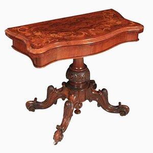 Mesa de juegos de nogal con incrustaciones de marquetería, siglo XIX