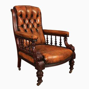Antique Hand Dyed Buttoned Leather & Mahogany Library Chair