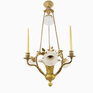 Vintage Belle Epoque Style Bronze Chandelier