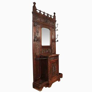 Antique Gothic Oak Hall Stand