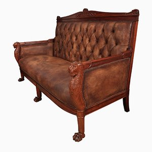 French Empire Buttoned Leather Sofa, 1820s
