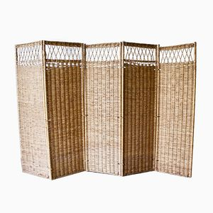 Mid-Century Wicker Screen Room Divider, 1960s
