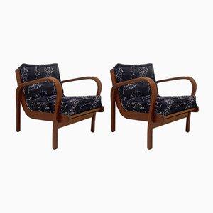 Italienische Mid-Century Sessel aus Eschenholz, 1950er, 2er Set