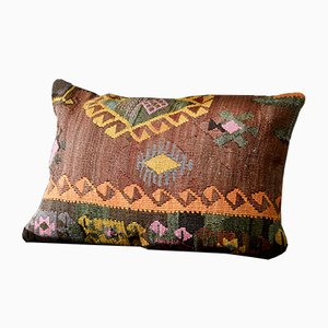 Pink, Brown, Orange, Black, & Green Embroidered Wool Lumbar Kilim Pillow by Zencef, 2017
