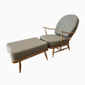 203 Lounge Chair & 341 Ottoman Set by Lucian Ercolani for Ercol, 1970s