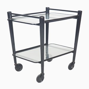 Black Wood and Glass Serving Trolley by Cees Braakman for Pastoe, 1950s