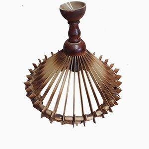 Lampada a sospensione vintage in legno, anni '70