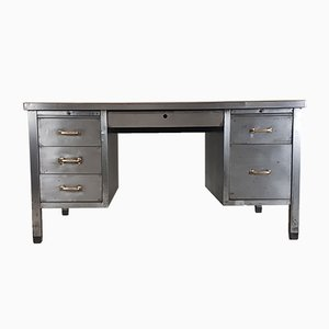 Vintage Industrial Double Pedestal Polished Steel Desk