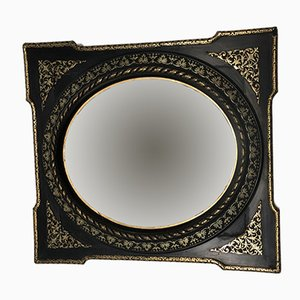French Napoleon III Style Black & Gold Mirror