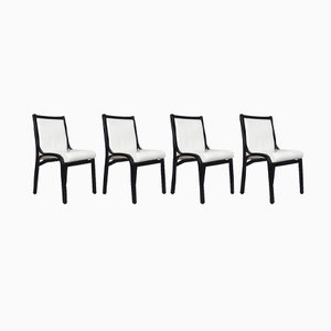 Black and White Cavour Chairs by Vittorio Gregotti for Poltrona Frau, 1980s, Set of 4
