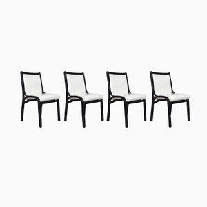 Cavour Stühle in Schwarz & Weiß von Vittorio Gregotti für Poltrona Frau, 1980er, 4er Set
