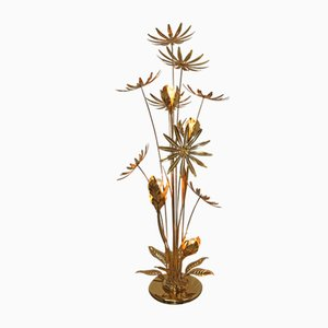 24 kt Gold-Plated Floor Lamp with Illuminated Flowers by Hans Kögl, 1970s