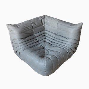Vintage Elephant Grey Leather Togo Corner Couch by Michel Ducaroy for Ligne Roset