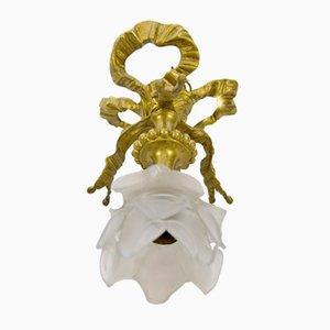 Deckenlampe im Louis XVI Stil aus Bronze & Glas, 1920er