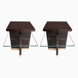 Tables d'Appoint Carrés Mid-Century en Laiton Macassar et en Verre, Italie, 1950s, Set de 2