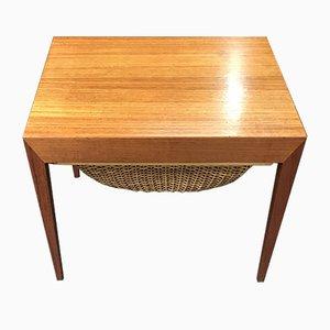 Tavolo da cucito vintage in teak di Severin Hansen per Haslev