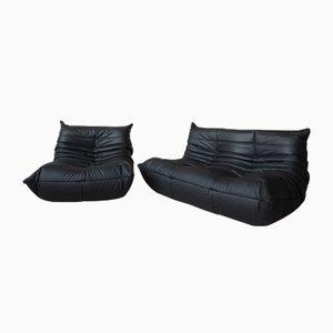 Vintage Togo Set aus schwarzem Leder von Michel Ducaroy für Ligne Roset, 2er Set