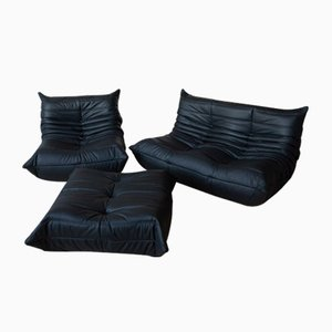 Vintage Black Leather Togo Set by Michel Ducaroy for Ligne Roset, Set of 3