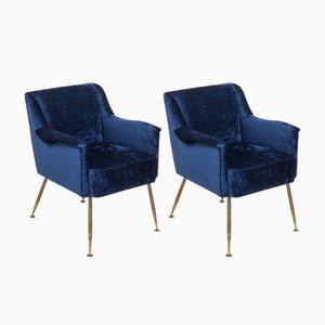 Italienische Mid-Century Sessel aus blauem Samt, 2er Set