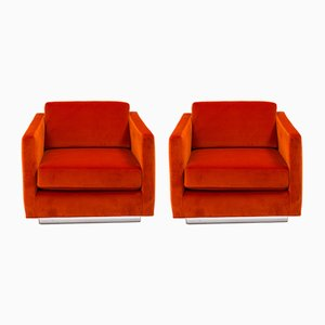 Orange Velvet Cube Chairs by Milo Baughman, 1960s, Set of 2