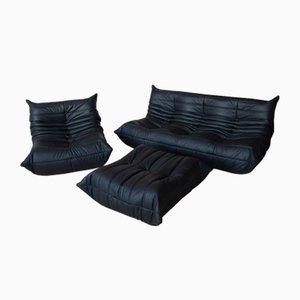 Vintage Black Leather Togo Set by Michel Ducaroy for Ligne Roset, Set of 3