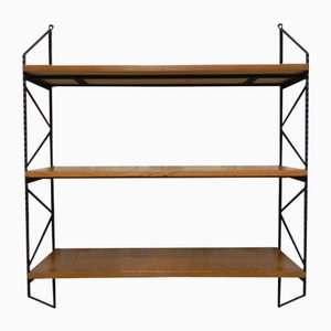 Vintage Belgian Wood & Steel Wall Shelves