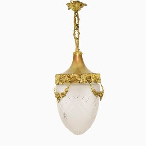 Louis XVI Style Brass and Bronze Pendant Lamp, 1920s
