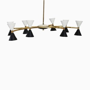 Gilt Brass & Lacquered Metal Chandelier from Stilnovo, 1950s