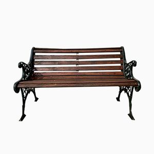 Vintage Cast Iron & Wood Garden Bench