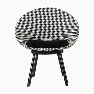 Swedish Chair with Houndstooth Pattern & Sheepskin Seat, 1950s