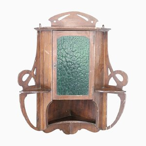 Antique Poplar Wood Art Nouveau Corner Unit