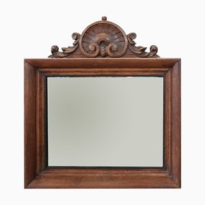 Espejo de pared antiguo de roble tallado, década de 1880