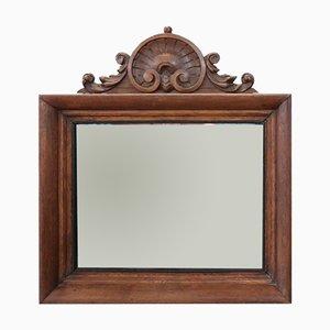 Specchio a muro antico in legno di quercia intagliato, fine XIX secolo