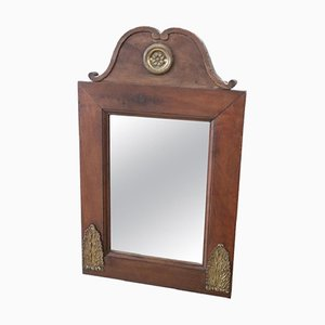 Antique Walnut Wall Mirror with Gilded Bronze Decorations